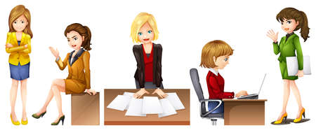 Illustration of the office workers on a white background Vector
