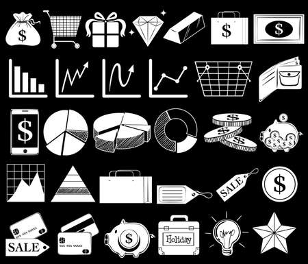 pennypinching: Illustration of the different icons on a black background Illustration