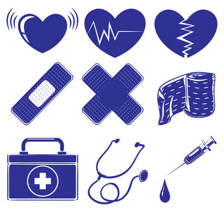 auscultation: Illustration of the medical supplies on a white background