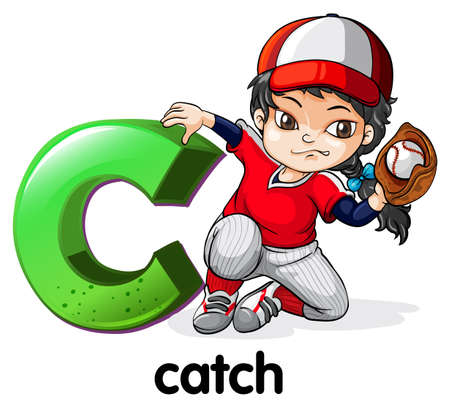 female athlete: Illustration of a letter C for catch on a white background