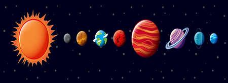 milkyway: Illustratie van het zonnestelsel Stock Illustratie