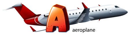 capitalized: Illustration of a letter A for aeroplane on a white background Illustration