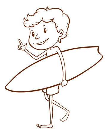 elliptic: Illustration of a simple sketch of a male surfer on a white background Illustration