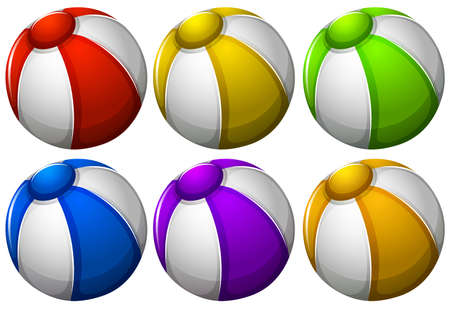 bounces: Illustration of the colourful beachballs on a white background
