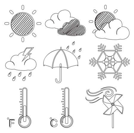 anthropological: Illustration of the different weather conditions on a white background Illustration