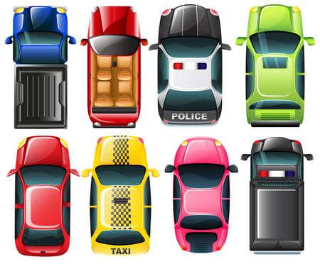 автомобили: Иллюстрация TopView от различного типа автомобилей на белом фоне Иллюстрация