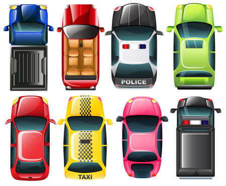 Illustration of the topview of the different type of vehicles on a white background Çizim