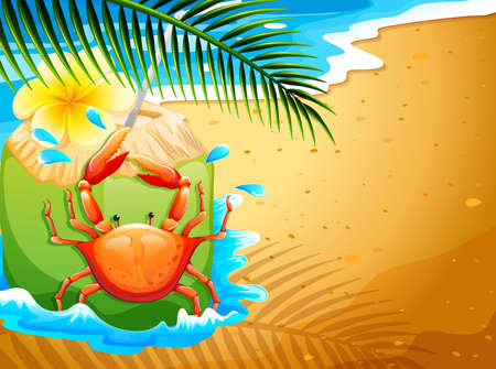 coconut crab: Illustration of a beach with a refreshing coconut drink and a crab