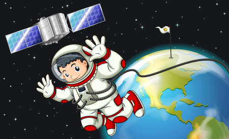 Illustration of an astronaut in the outerspace near the satellite Illustration