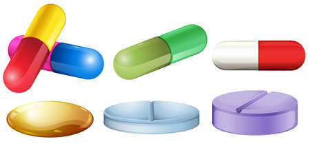 Illustration of the medical pills on a white background Vector