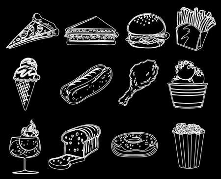 sweetened: Illustration of the different foods on a black background