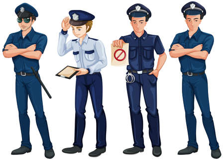 enforcer: Illustration of the four policemen on a white background