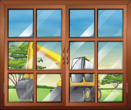 Illustration of a window with a view of the bulldozer outside