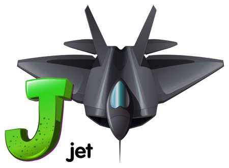 maneuverability: Illustration of a letter J for jet on a white background Illustration