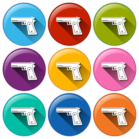 firepower: Illustration of the gun icons on a white background Illustration