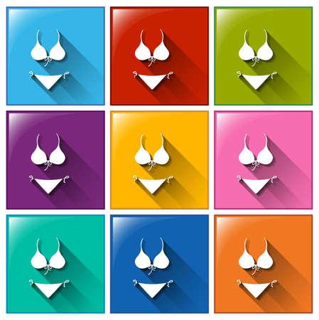 undergarment: Illustration of the swimwear icons on a white background Illustration