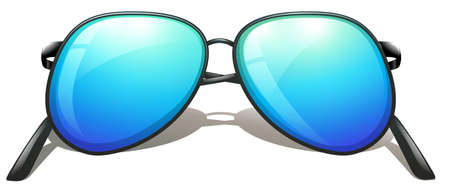 hinge joint: Illustration of a blue sunglasses on a white background