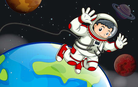 astronauta: Ilustración de un astronauta en el espacio exterior Vectores