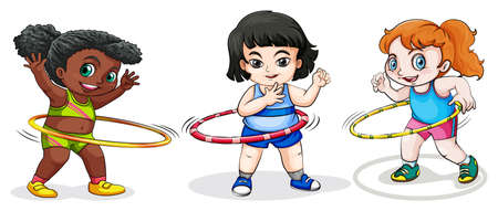 dark complexion: Illustration of the kids playing with the hulahoop on a white background