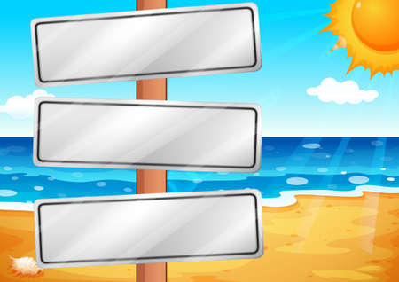wavelengths: Illustration of the empty signboards at the beach Illustration