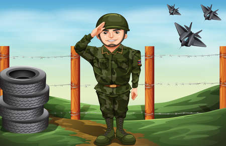 Illustration of a soldier in front of the barbwire fence