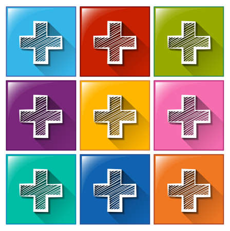 addition: Illustration of the addition sign icons on a white background