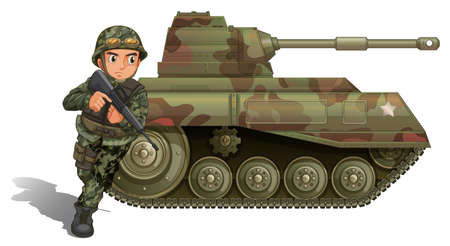 Illustration of a soldier near the armour tank on a white background