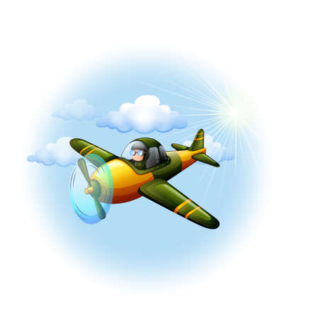 jetplane: Illustration of an airplane in the sky on a white background Illustration