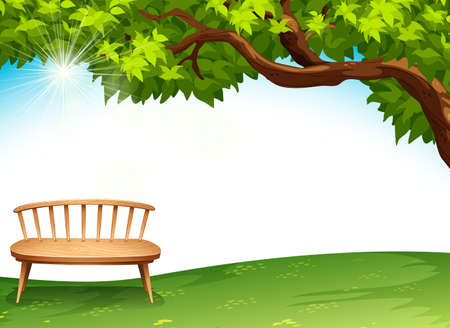 Illustration of a chair near the tree