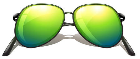 hinge joint: Illustration of a green sunglasses on a white background