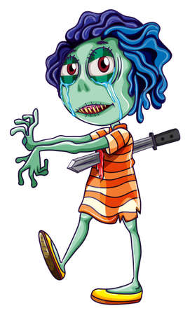 stabbed: Illustration of a young zombie on a white background