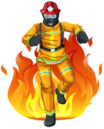 safety: Illustration of a fireman and the big fire on a white background