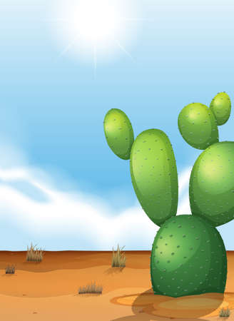 spiny: Illustration of a cactus plant in the desert