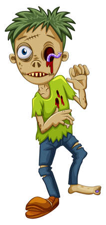 Illustration of a young male zombie on a white background Vector