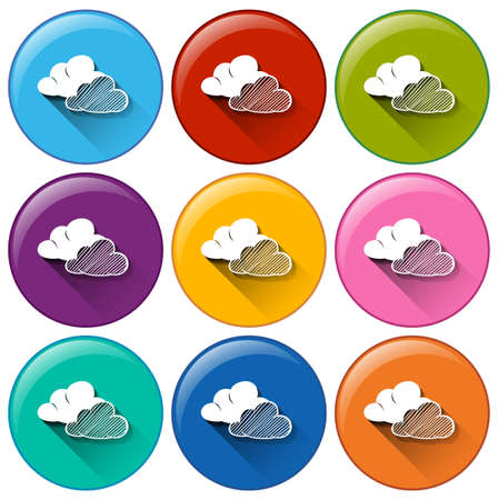 anthropological: Illustration of the icons with clouds on a white background