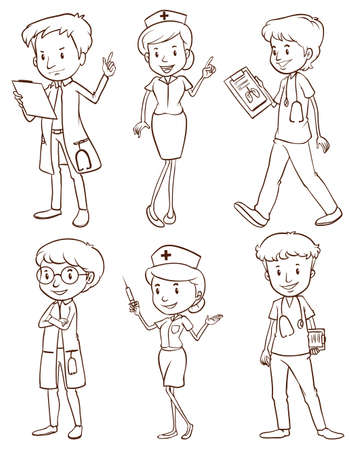 Illustration of the simple sketches of doctors on a white background Vector