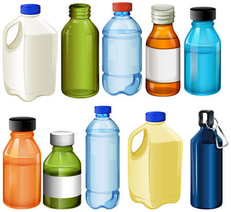 ink in water: Illustration of the different bottles on a white background