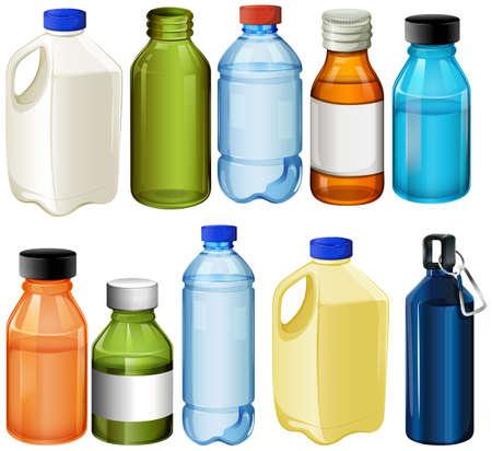 botella: Ilustración de los diferentes botellas sobre un fondo blanco