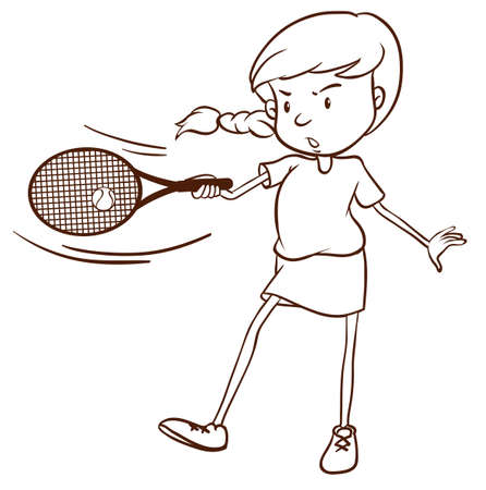 rehearsal: Illustration of a simple sketch of a female tennis player on a white background
