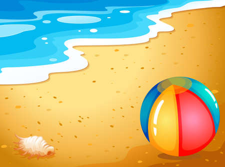 wavelengths: Illustration of a ball at the beach Illustration