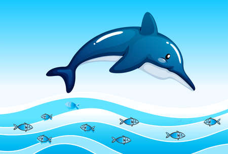 fishes: Illustration of a sea with a big dolphin and a school of small fishes