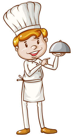 culinary arts: Illustration of a simple sketch of a chef on a white background