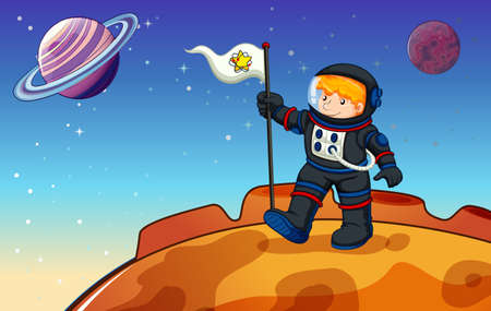 outerspace: Illustration of a man in the outerspace with a banner