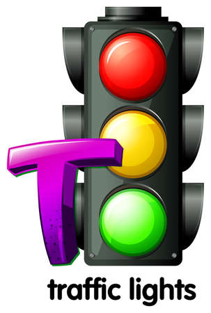 semaforo peatonal: Ilustración de una letra T en los semáforos sobre un fondo blanco Vectores