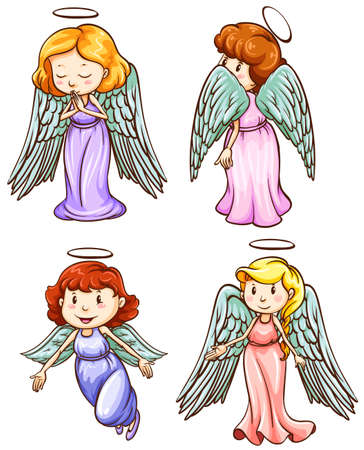 Illustration of the simple sketches of angels on a white background Vector