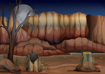 Illustration of a desert with stumps Vector