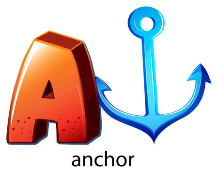 capitalized: Illustration of a letter A for anchor on a white background Illustration
