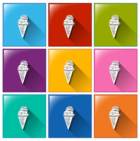 sweetened: Illustration of the ice cream icons on a white background