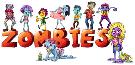 Illustration of the different faces of zombies on a white background