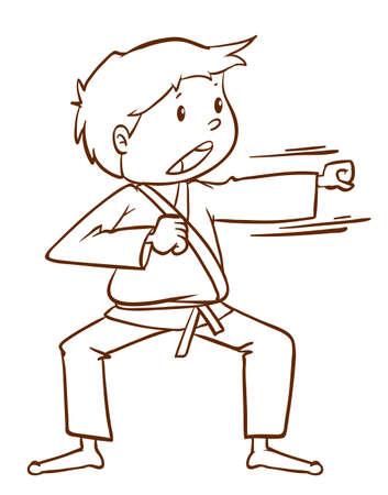contingent: Illustration of a simple sketch of a boy doing martial arts on a white background Illustration